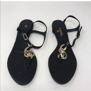 Chanel T strap sandals chains size 40
